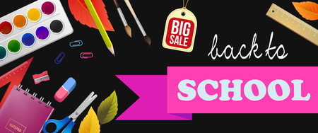Back to school, big sale lettering with autumn leaves and supplies. Offer or sale advertising design. Handwritten and typed text, calligraphy. For leaflets, brochures, invitations, posters or banners.