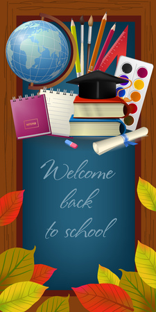 Welcome back to school lettering in frame, graduation cap and supplies. Offer or sale advertising design. Handwritten text, calligraphy. For leaflets, brochures, invitations, posters or banners.