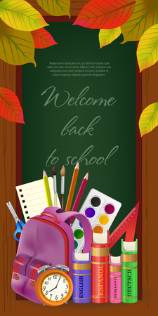 Welcome back to school lettering in frame, with leaves and supplies. Offer or sale advertising design. Handwritten text, calligraphy. For leaflets, brochures, invitations, posters or banners. Vector Illustration