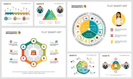 Ensemble de graphiques infographiques de concept de gestion ou de statistiques colorées. Éléments de conception commerciale pour les modèles de diapositives de présentation. Peut être utilisé pour le rapport financier, la mise en page du flux de travail et la conception de brochures.