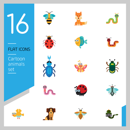 Cartoon animals icons set. Kangaroo, pig, bat, bee, fish. Fauna concept. Can be used for topics like nature, wildlife, wilderness, cattle Illustration