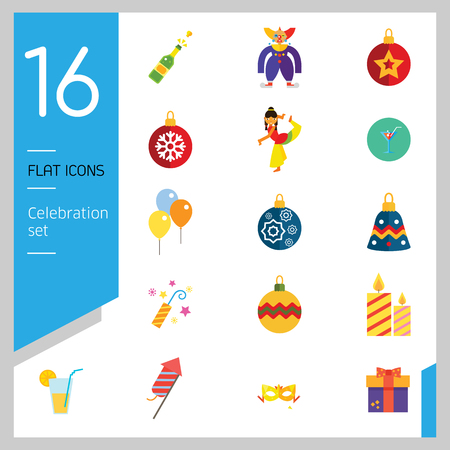 Celebration icon set. Balloons, firecrackers, fireworks, Christmas bauble. Holiday concept. Can be used for topics like special day, festive event, entertainment