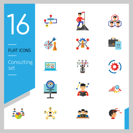 Consulting Icon Set. Changes Adaption Control Monitoring Strategic Management Strategy Focus Workflow Team Cohesion Team Creation Team Development Leader Training Electorate Bar Chart And Magnifier Vettoriali