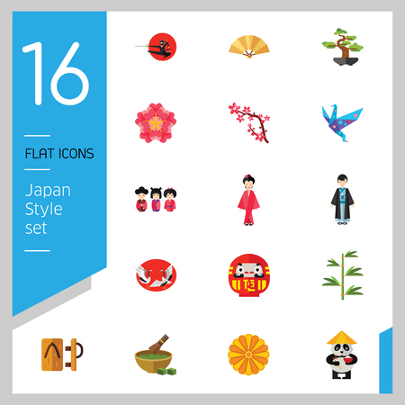 Japan Style Icon Set. Japanese Umbrella Bamboo Daruma Doll Japanese Flower Japanese Cranes Kokeshi Dolls Sakura Branch Woman In Kimono Japanese Man Geta Origami Crane Matcha Tea Chrysanthemum Ornament