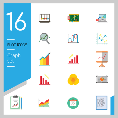 Graph Icon Set. Magnifier And Graph Growing Bar Chart Declining Bar Chart Venn Diagram Clipboard Flipchart With Graph Smart Board Histogram Line Graph Computer With Histogram Projection Screen Chart Vectores