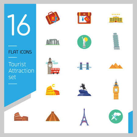 Tourist attraction icons set. Thirteen vector icons of Eiffel Tower, Big Ben, Pyramids and other tourist attractions  イラスト・ベクター素材
