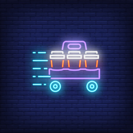 Neon icon of takeaway drinks. Carton cups on cart in motion on brick wall background. Food delivery concept. Can be used for neon signs, posters, billboards, banners.