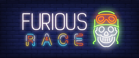 Furious race neon text with skull in helmet. Transport and promotion concept. Advertisement design. Night bright neon sign, colorful billboard, light banner. Vector illustration in neon style.