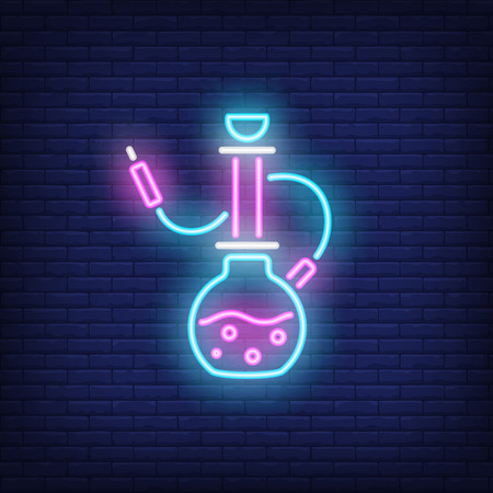 Neon icon of hookah on brick wall background. Smoking or romance concept. Bright neon sign element can be used for lounge, club and cafe advertising Ilustrace