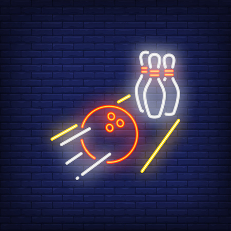 Bowling ball rolling on alley neon sign. Heavy ball throwing pins. Night bright advertisement. Vector illustration in neon style for game and entertainment
