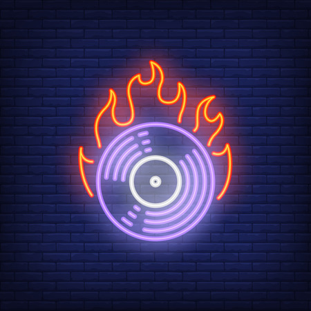 Firing vinyl record neon sign. Purple gramophone record in flame. Night bright advertisement. Vector illustration in neon style for music and album