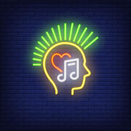 Punk con letrero de neón mohawk. Cabeza con símbolo de corazón y melodía. Anuncio luminoso nocturno. Ilustración de vector en estilo neón para subcultura y gusto musical.