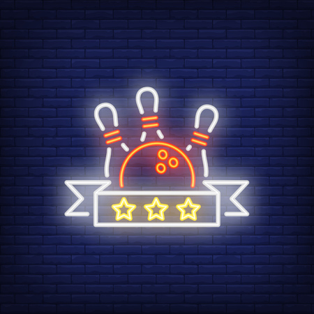 Bowling rating neon sign. Bowling pins and ball against scroll with three stars. Night bright advertisement. Vector illustration in neon style for game and competition Illustration