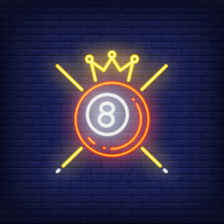 Winning pool ball neon sign. Billiard ball number eight with crown and cross of cues behind. Night bright advertisement. Vector illustration in neon style for game and success