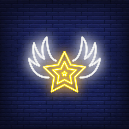 Star with wings neon sign. Glowing symbol on dark blue background. Night bright advertisement. Vector illustration in neon style for rock star and musician