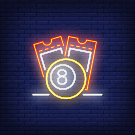 Neon icon of lottery tickets. Scratch coupons and ball with figure of eight on brick wall background. Lotto playing concept. Can be used for neon signs, posters, billboards, banners. 일러스트