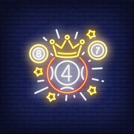 Neon icon of lottery winner. Ball with figure of four in crown with beams and stars on brick wall background. Lotto playing concept. Can be used for neon signs, posters, billboards, banners.