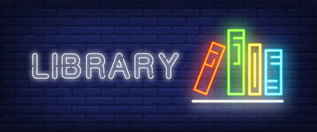 Library neon text and books on shelf. Education, literature and knowledge concept. Advertisement design. Night bright neon sign, colorful billboard, light banner. Vector illustration in neon style.