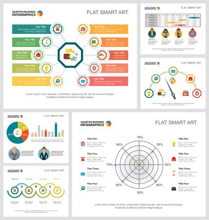 Conjunto de gráficos infográficos coloridos concepto de contabilidad o estadísticas. Elementos de diseño empresarial para plantillas de diapositivas de presentación. Para informes corporativos, publicidad, maquetación de folletos y diseño de carteles. Ilustración de vector