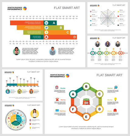 Colorful economy or research concept infographic charts set. Business design elements for presentation slide templates. For corporate report, advertising, leaflet layout and poster design.