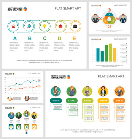 Colorful management or teamwork concept infographic charts set. Business design elements for presentation slide templates. For corporate report, advertising, leaflet layout and poster design.
