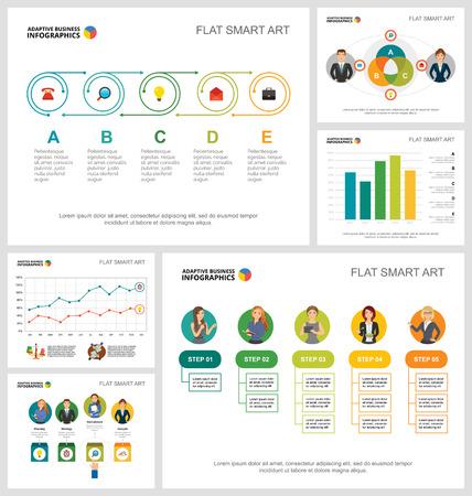 Conjunto de gráficos infográficos de concepto colorido de gestión o trabajo en equipo. Elementos de diseño empresarial para plantillas de diapositivas de presentación. Para informes corporativos, publicidad, maquetación de folletos y diseño de carteles.