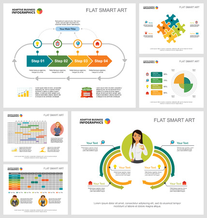 Colorful planning or strategy concept infographic charts set. Business design elements for presentation slide templates. For corporate report, advertising, leaflet layout and poster design. Ilustración de vector
