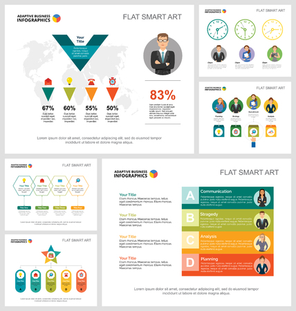 Insieme di grafici infographic di concetto di ricerca o lavoro di squadra colorati. Elementi di design aziendale per modelli di diapositive della presentazione. Per report aziendali, pubblicità, layout di volantini e poster. Vettoriali