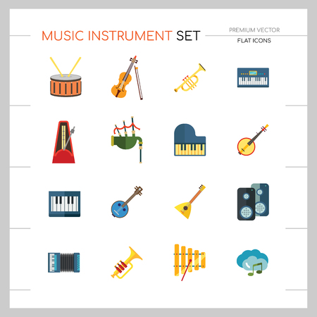 Music Instrument Icon Set. Drum And Drumsticks Balalaika Banjo Instrument Classic Accordion Violin And Bow Trumpet Xylophone Grand Piano Scottish Bagpipe Synthesizer Acoustic Speakers Vettoriali
