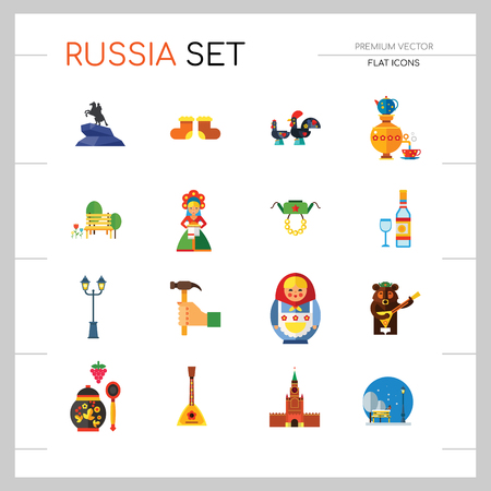 Russia Icon Set. Kremlin Saint Basil Cathedral Valenki Russian Rooster Samovar Matryoshka Bear With Balalaika Russian Welcome Vodka Balalaika Hand With Hummer Ushanka Khokhloma