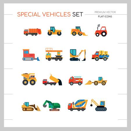 Jeu d'icônes de véhicules spéciaux. Skid loader, tracteur, ascenseur industriel. Concept de véhicule. Peut être utilisé pour des sujets tels que l'industrie, la construction, la construction de routes
