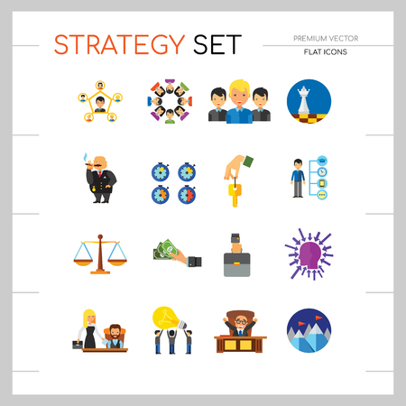 Strategy Icon Set. Team Structure Common Idea Director Executive Manager Rich Person Team Time Management Challenge Boss Scales Strategic Management Vision Team Leader Imagens - 111971494