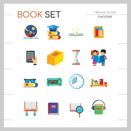 Libro conjunto de iconos. Lupa de pila de libros Cuaderno en manos Estante de gafas Libro electrónico Libro abierto Cuentos de niños Marcapáginas de ciencia Audiolibro