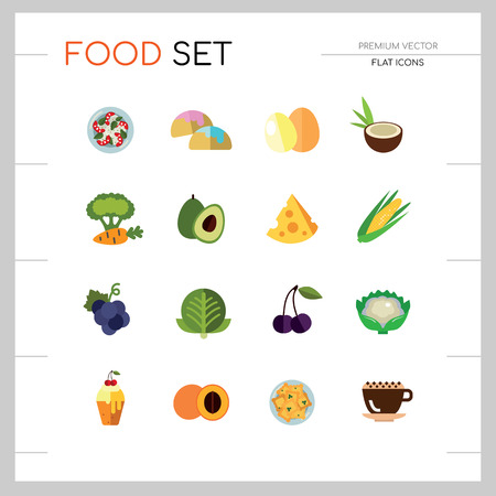 Food icon set. Broccoli, fruit, doughnut, cheese, cappuccino. Eating concept. Can be used for topics like cafe, menu, food store