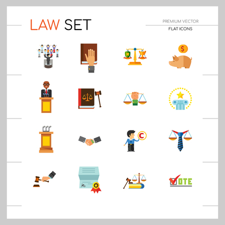 Law Icon Set. Copyright Hand With Gavel Scales Law Concept Scales With Cup And Shield Corruption Civil Rights Business Law Piggy Bank Lawyer Sign Law Shield Justice Patenting  イラスト・ベクター素材