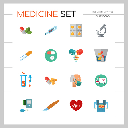 Medicine icon set. Capsule, pill, syringe, scalpel, microscope. Medication concept. Can be used for topics like medical help, lad research, test, emergency