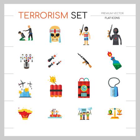 Conjunto de iconos de terrorismo. Kamikaze Fire Cocktail Dynamite Army Tags Bomba de rehenes con temporizador Ametralladora Misiles Explosión Refugiados Terrorist Shooting Target War