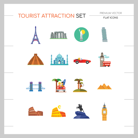 Tourist attraction icons set. Thirteen vector icons of Eiffel Tower, Big Ben, Pyramids and other tourist attractions Illustration