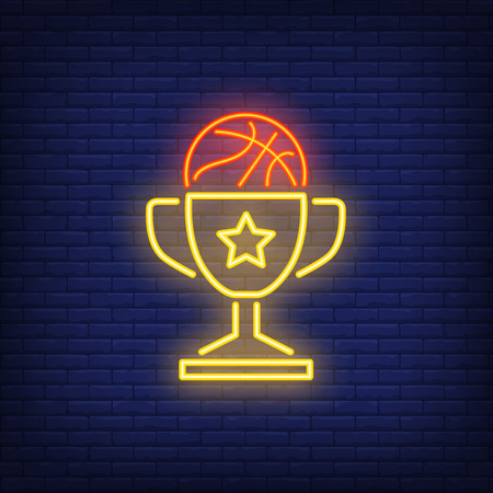Basketball in cup neon sign. Basketball, win, team game and sport concept. Advertisement design. Night bright colorful billboard, light banner. Vector illustration in neon style.