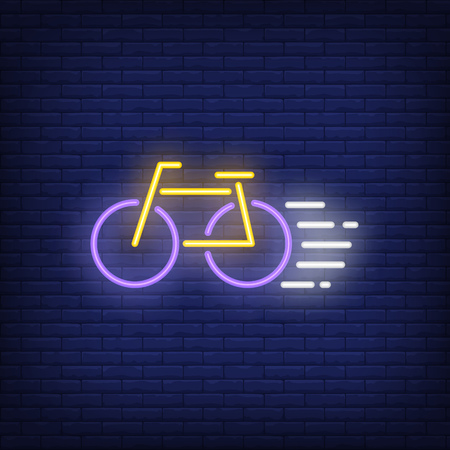 Bicycle going fast neon sign. Bicycling, competition and sport concept. Advertisement design. Night bright colorful billboard, light banner. Vector illustration in neon style.
