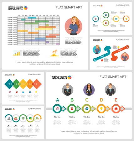 Colorful workflow or strategy concept infographic charts set. Business design elements for presentation slide templates. Can be used for financial report, workflow layout and brochure design.  イラスト・ベクター素材
