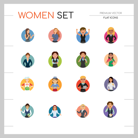 Women vector icon set. Doctor, excited, drinking, in glasses, Indian. Characters concept. Can be used for topics like occupation, race, activity, look, emotion Ilustración de vector