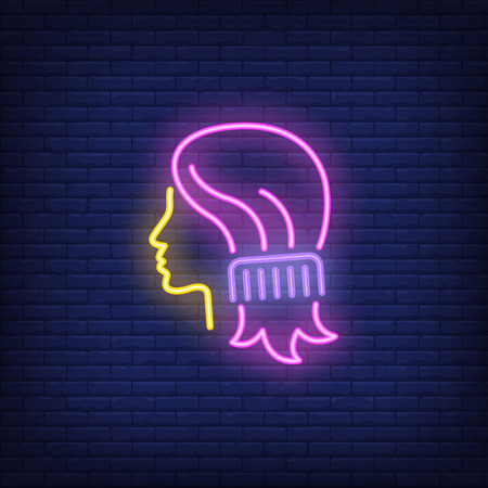 Comb combing woman hair neon sign. Hairdressing salon, style and fashion concept. Advertisement design. Night bright colorful billboard, light banner. Vector illustration in neon style.