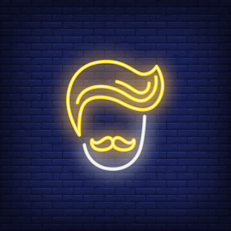Hipster head neon sign. Barbershop, style and fashion concept. Advertisement design. Night bright colorful billboard, light banner. Vector illustration in neon style.