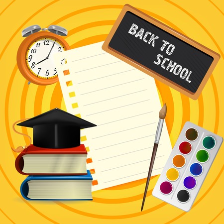 Back to school lettering on blackboard with graduation cap and paints. Offer or sale advertising design. Typed text, calligraphy. For leaflets, brochures, invitations, posters or banners.
