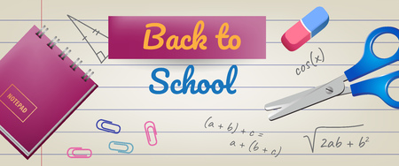 Back to school lettering on lined paper with eraser and scissors. Offer or sale advertising design. Handwritten text, calligraphy. For leaflets, brochures, invitations, posters or banners.