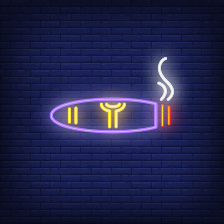 Smoking cigar neon sign. Smoking, healthcare and addiction concept. Advertisement design. Night bright colorful billboard, light banner. Vector illustration in neon style.