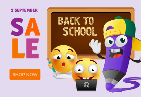 Back to school sale leaflet design with cartoon pencil, smart emoticons and chalkboard. Text can be used for signs, posters, banners, promo flyers Illusztráció