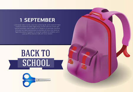 Back to school, first of September poster design with backpack and scissors. Text can be used for signs, brochures, banners