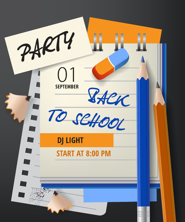 Party, back to school lettering with notebook and pencils. Invitation design. Handwritten text, calligraphy. For leaflets, brochures, invitations, posters or banners.